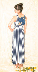 Sailor Nautical Maxi Dress with Bow Back