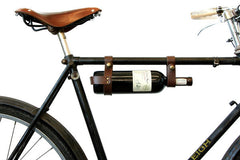 Leather Bicycle Wine Rack in Brown