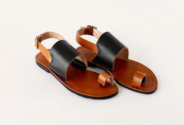 Chrome-Free Leather Sandals with Recycled Tire Soles - Tan
