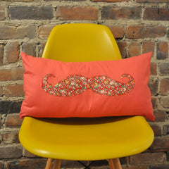 Tangerine Mustache Cushion Cover