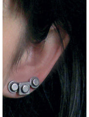Pewter Lego Stud Earrings