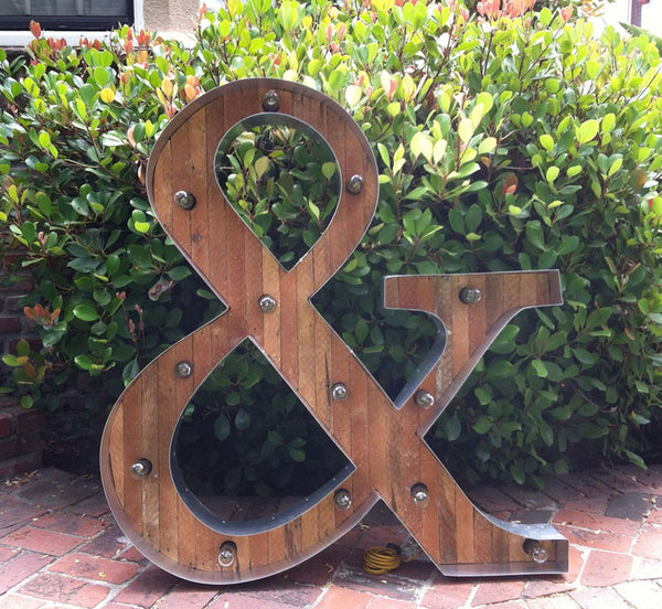 Upcycled Wood Ampersand Marquee Light