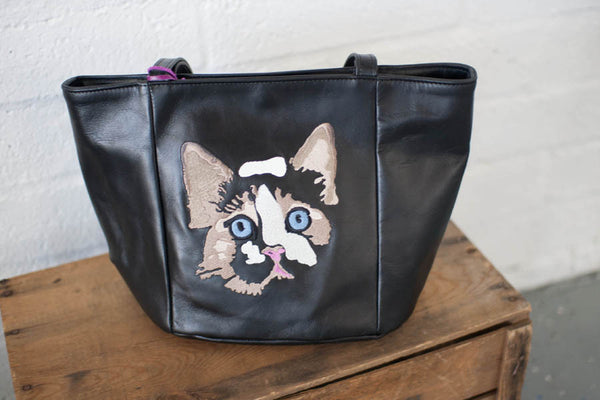 Medium Kitty Tote in Black - Handmade in London with Vintage Leather