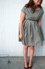 Gingham Tie Waist Dress in Navy and Cream