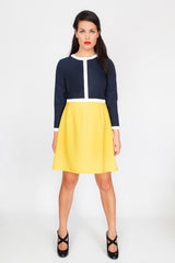 The Esther Dress in Navy, White and Yellow