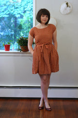 Gingham Tie Waist Dress in Red and Cream