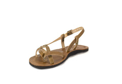 Skinny Strap Studded Sandals - Brown