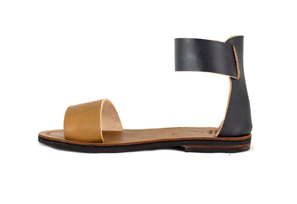 Two Tone Ankle Wrap Sandals