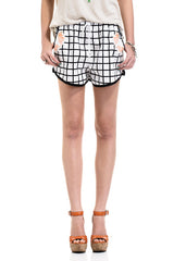 Sophia Black and White Grid Shorts