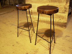 Reclaimed Oak Bar Stools with Metal Legs