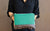 Large Teal Zipper Envelope Clutch