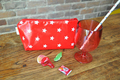 Rouge Stars Makeup or Pencil Case in Red
