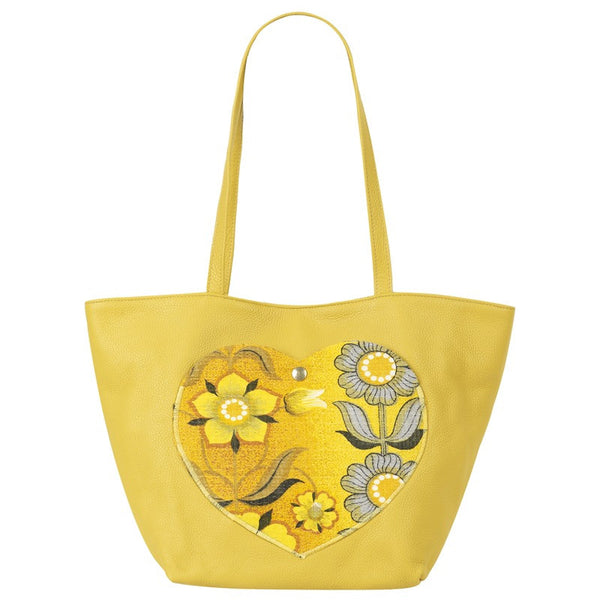 Eye Heart Tote in Banana - Handmade in London with Vintage Leathers