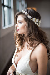 Cora Floral & Crystal Gold Headpiece by Camilla Christine Bridal Accessories and Wedding Jewelry