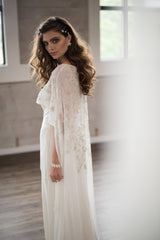 Ivana Beaded Bridal Cape- Silver Handbeaded Floral Vine Long cape as seen on California Wedding Day by Camilla Christine Bridal and Evening Accessories and Wedding Jewelry
