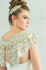 Hailee Open Flutter Back Crystal Beaded Coverup & Headpiece by Camilla Christine Bridal Accessories & Wedding Jewelry