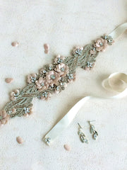 Peony Sash- Blush by Camilla Christine Bridal Accessories and Wedding Fashion Jewelry