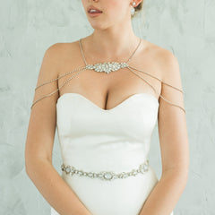 Simone Crystal Shoulder & Back Necklace by Camilla Christine Bridal Accessories & Wedding Jewelry