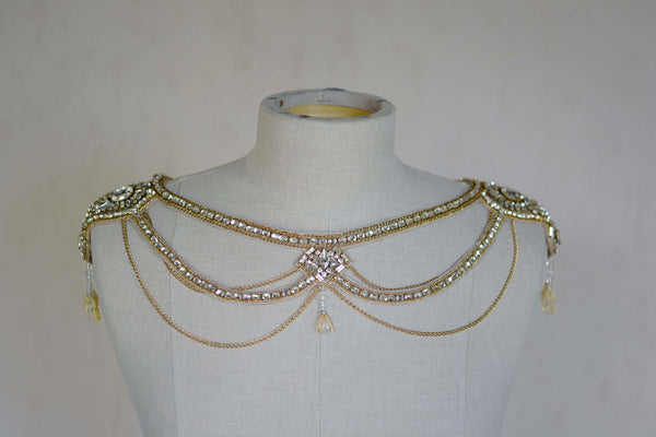 Bridal Accessories and Wedding Jewelry, Camilla Christine, Necklace, Shoulder Necklace, Mitsy, Gold, Glamorous  Crystal & Chain Swag  Statement Bridal Shoulder Necklace with Cutout Detail