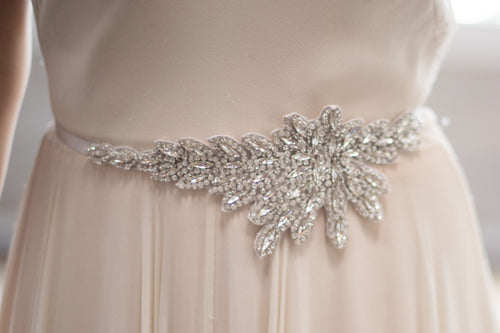 Bridal Accessories and Wedding Jewelry, Camilla Christine, Crystal Leaves Hand Beaded Silver Applique Sash, Heather Asym Sash