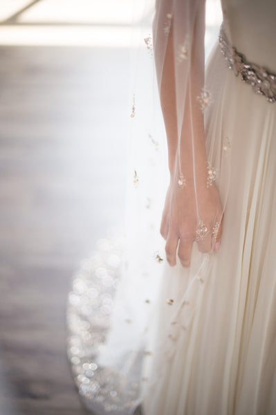 Bridal Accessories and Wedding Jewelry, Camilla Christine, Veil, Celine, Nude, Blush, Cathedral Veil featuring a Cascade of Hand-Beaded Pearl & Crystal Clusters on a Soft Sheer Tulle