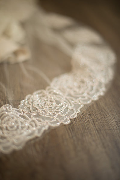 Bridal Accessories and Wedding Jewelry, Camilla Christine, Veil, Rose, Nude, Blush, Ivory, Graduated Cascade of Italian Rose Shaped Beaded Lace Soft Sheer Veil