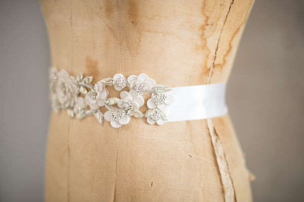 Bridal Accessories and Wedding Jewelry, Camilla Christine, Sash, Applique, Cora, Silver Ivory, Romantic Boho Style Floral, Leaf & Vine Cut-out Bridal Sash