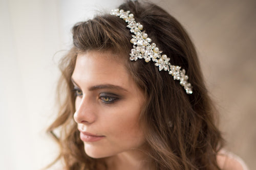 Bridal Accessories and Wedding Jewelry, Camilla Christine, Headpiece, Hair Accessory, Halo, Crown, Nixon Headpiece, Silver Ivory, Vintage Inspired Wing Shaped Pearl and Crystal Ornate Bridal Headpiece
