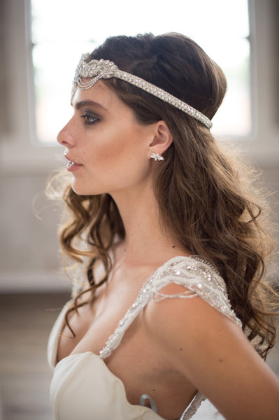Bridal Accessories and Wedding Jewelry, Camilla Christine, Headpiece, Headdress, Halo, Faith Headpiece, Silver, Great Gatsby Inspired Floral & Vine Design wtih Crystal Chain Swag Headpiece