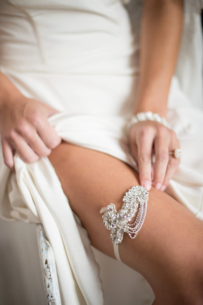 Bridal Accessories and Wedding Jewelry, Camilla Christine, Garter, Faith Garter, Silver, Great Gatsby Inspired Floral & Vine Design wtih Crystal Chain Swag Garter