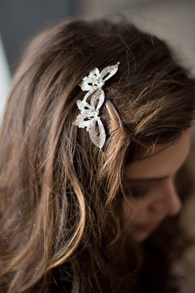 Bridal Accessories and Wedding Jewelry, Camilla Christine, Hair Comb, Headpiece, Iris, Silver, Romantic Orhcid Shaped Pave Crystal Birdal Hair Comb Headpiece
