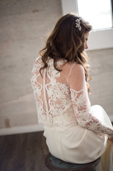 Bridal Accessories and Wedding Jewelry, Camilla Christine, Isla Crop Top, Coverup, Separate, Floral Embroidered & Hand Beaded Long Sleeve Faux Off Shoulder Bridal Cover-up Crop Top