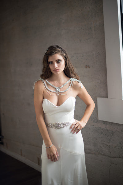 Bridal Accessories and Wedding Jewelry, Camilla Christine, Necklace, Shoulder Necklace, Mitsy, Silver, Glamorous  Crystal & Chain Swag  Statement Bridal Shoulder Necklace with Cutout Detail