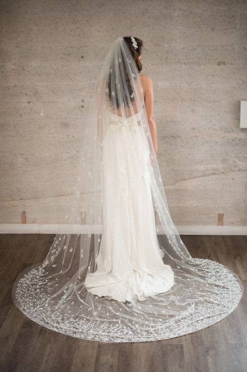 Bridal Accessories and Wedding Jewelry, Camilla Christine, Veil, Celine, Ivory, Cathedral Veil featuring a Cascade of Hand-Beaded Pearl & Crystal Clusters on a Soft Sheer Tulle