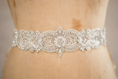 Bridal Accessories and Wedding Jewelry, Camilla Christine, Allure Sash, Applique, Silver Ivory, Crochet Cutout Detail Crystal Beaded Tapered Width Long Sash