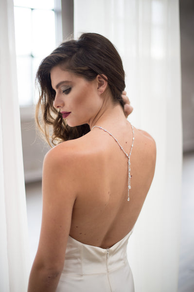 Bridal Accessories and Wedding Jewelry, Camilla Christine, Emerson Necklace, Silver, Dainty Double Dangle Mixed Stone Shape Preciosa Crystal Reversible Y-necklace or Back Necklace