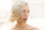 Bridal Accessories and Wedding Jewelry, Camilla Christine, Veil, Willa, Ivory, Handmade Floral Delicate Beaded Soft Tulle Birdcage Blusher Veil