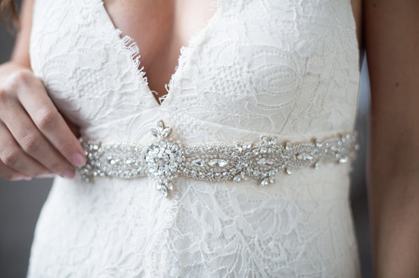 Bridal Accessories and Wedding Jewelry, Camilla Christine, Sash, Applique, Nella Sash, Silver, Bohemian Chic Inspired Hand-Beaded Marquis Crystal Dainty Bridal Sash
