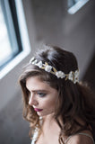 Bridal Accessories and Wedding Jewelry, Camilla Christine, Headpiece, Halo, Headdress, Cora, Gold, Floral, Leaf & Vine Cut-out Wrap Around Halo Headpiece