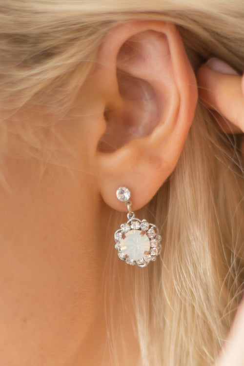 PETUNIA EARRINGS- SILVER/ WHITE OPAL