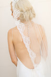 Bridal Accessories and Wedding Jewelry, Camilla Christine, Veil, Giselle, Ivory, Spanish Mantllia Veil with French Chantilly Scallop Lace Trim