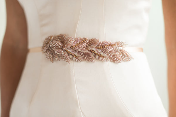 Bridal Accessories and Wedding Jewelry, Camilla Christine, Eve Sash, Rose Gold Hand Beaded Leaves Applique, Blush
