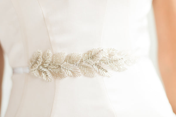 Bridal Accessories and Wedding Jewelry, Camilla Christine, Eve Sash, Silver Hand Beaded Leaves Applique