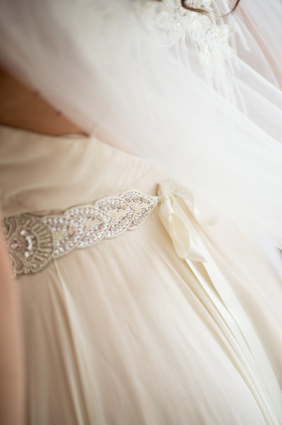 Bridal Accessories and Wedding Jewelry, Camilla Christine, Sash, Applique, Houston Sash, Silver Ivory, Medallion Shaped Design Hand-Beaded Crystal & Ivory Seed Bead Applique Long Sash