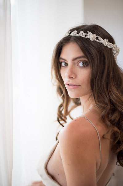 Bridal Accessories and Wedding Jewelry, Camilla Christine, Headpiece, Halo, Headdress, Cora, Silver, Floral, Leaf & Vine Cut-out Wrap Around Halo Headpiece