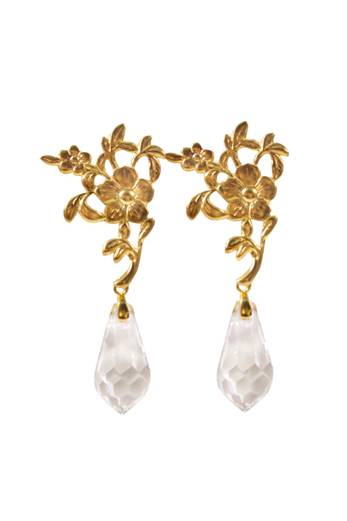 GRETEL CRYSTAL EARRINGS- GOLD