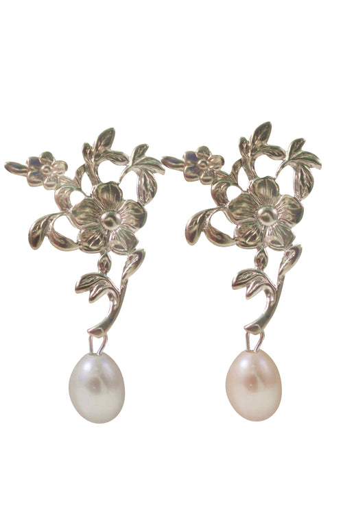 GRETEL PEARL EARRINGS - SILVER