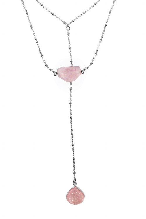 ILLAH RAE NECKLACE- SILVER/BLUSH