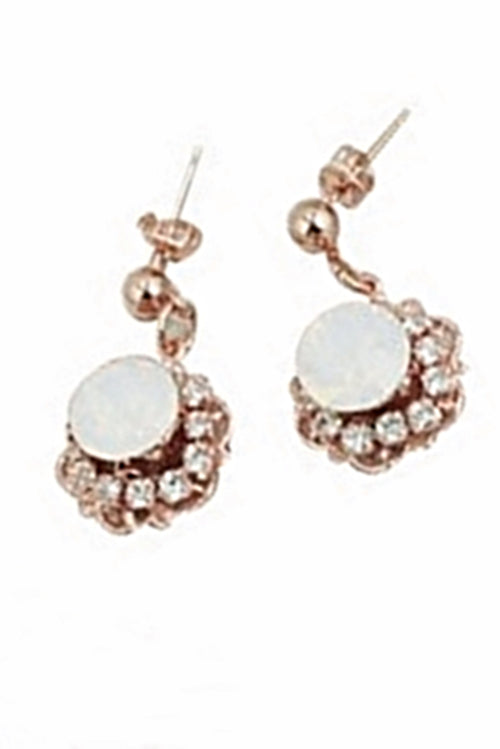 PETUNIA EARRINGS- ROSE GOLD/ WHITE OPAL