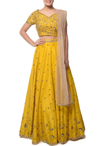Exclusive Designer Yellow embroidered lehenga set-Bridal Lehenga Store
